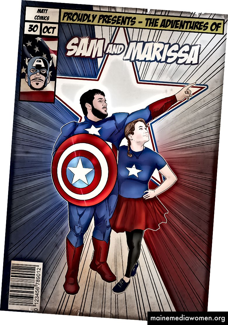 Custom Captain America Comic-Kunst für Sam und Marissa.