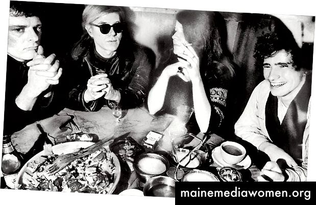 Von links Paul Morrissey, Andy Warhol, Janis Joplin und Tim Buckley in Max 'Kansas City, 01968. Quelle: NY Times
