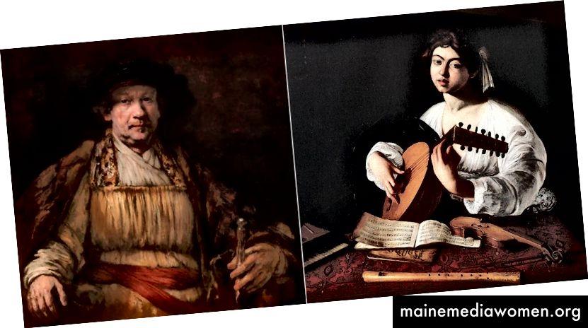 REMBRANDT, SELBSTPORTRAIT, 1658 | CARAVAGGIO, DER LUTE-SPIELER, 1596