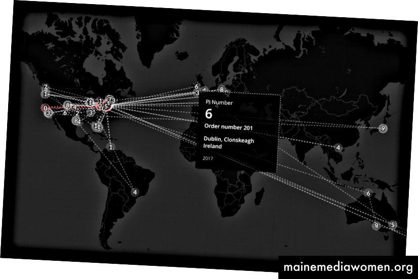 Globale interaktive Karte zur Verfolgung der geografischen Position jeder Skulptur auf der Erde