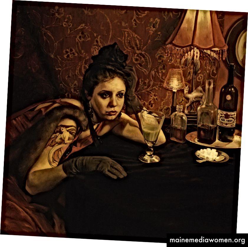 Der Absinth-Trinker, Öl auf Leinwand, 30x30 Zoll, 2011