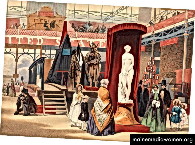 منظر في صحن الشرق (العبد اليوناني ، بواسطة السلطة [كذا] ؛ من ذكريات المعرض الكبير). الطباعة الحجرية لعام 1851 لجون أبسولون (البريطانية ، لندن 1815-1895).