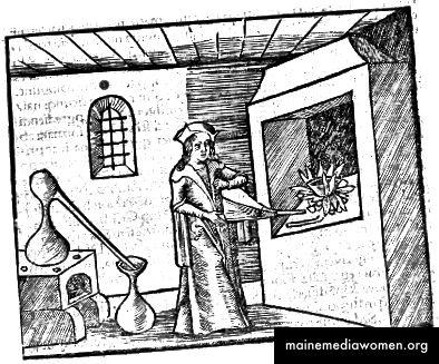 نقش خشبي من الخيميائي من 1500s.