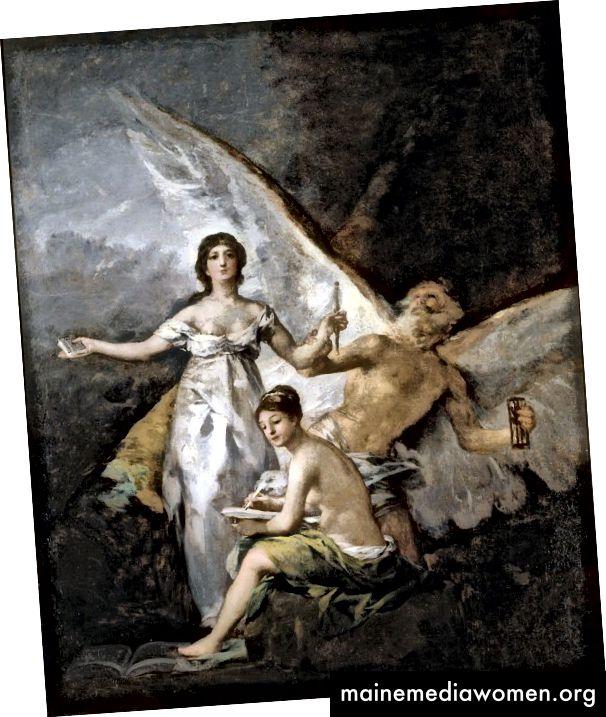 رسمت غويا رمزية دستور 1812 بعد وقت قصير من توقيعه. تحتوي هذه اللوحة على أوجه تشابه رسمية مع Witches in Flight ، ولكن حيث كانت الأخيرة تدور حول الظلام والشر ، فإن اللوحة الأولى تمثل صورة للخير والنور.