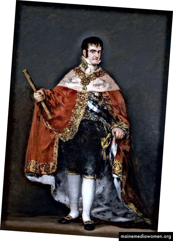 رسم فرديناند السابع من قبل غويا في عام 1812. كان فرديناند السابع مفضلًا في البداية على والده تشارلز الرابع ، وبالتأكيد على جوزيف بونابرت ، لكنه أثبت أنه كارثة بالنسبة لإسبانيا. كان الملك محافظًا للغاية وكان يؤمن بحكم الملكية المطلقة. لقد توج حكمه بـ