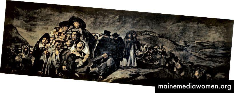 رحلة حج إلى سان إيسيدرو مصبوغة باللوحات السوداء الأخرى في منزل غويا في أوائل عشرينيات القرن التاسع عشر. يعتقد المؤرخون أنه كان يقع مقابل الماعز العظيم.