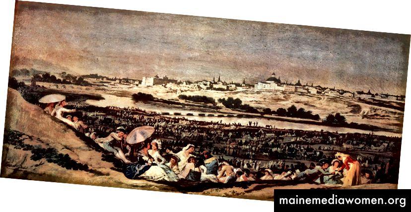 مروج سان إيسيدرو هو نفس المشهد الذي رسمه الحج إلى سان إيسيدرو قبل ثلاثة عقود في وقت مبكر من عام 1788. كان المشهد مرحا ، مدريد تشرق ببراعة كخلفية للتجمع.
