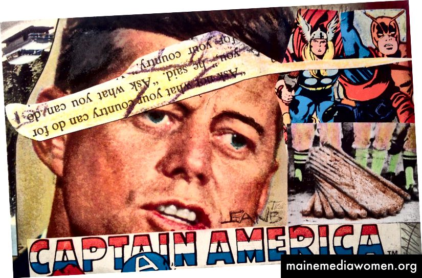 JFK، Thor، Giant-Man & Captain America، 1978 Collage، pastel oil، pencil، and pen-tip-tip on postcard 3.3 x 5.3 in. (8.38 x 13.46 cm.) Signed؛ بالقلم الرصاص والقلم