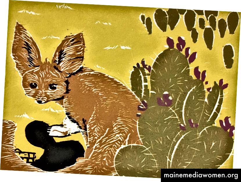 هناك لعبة Catch by Yeisy Rodriguez وهي عبارة عن حطاب مختزل يصور ثعلب ثعبان على وشك أن يتم القبض عليه. لا يعتبر الثعلب المهددة بالانقراض ولكنه يتأثر بتجارة الحيوانات الأليفة والفراء.