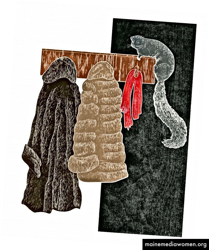 (يسار) وبعد ذلك كان هناك أيضًا بقلم ييزي رودريغيز ، وهي شاشة مطبوعة بأربعة ألوان استنادًا إلى الأخبار التي ظهرت في أواخر عام 2017 حول الآلاف من فراخ البطريق من أديلي التي ماتت بسبب الجوع. (الوسط) Ghosts by Yeisy Rodriguez هو نبات عصري يضم الأنواع الخمسة من الليمورات الأكثر شيوعًا التي تباع كحيوانات أليفة. واحد وتسعون في المئة من 103 أنواع الليمور تواجه الانقراض نتيجة لتجارة الحيوانات الأليفة وتغير المناخ. (يمين) 101 Minks من Yeisy Rodriguez هو نقش خشبي يضم معاطف فرو ومنك. تتحرك صناعة الأزياء بعيدًا عن استخدام الفراء الحقيقي ، لكن حياة ملايين الحيوانات تضيع كل عام بسبب صناعة الفراء.