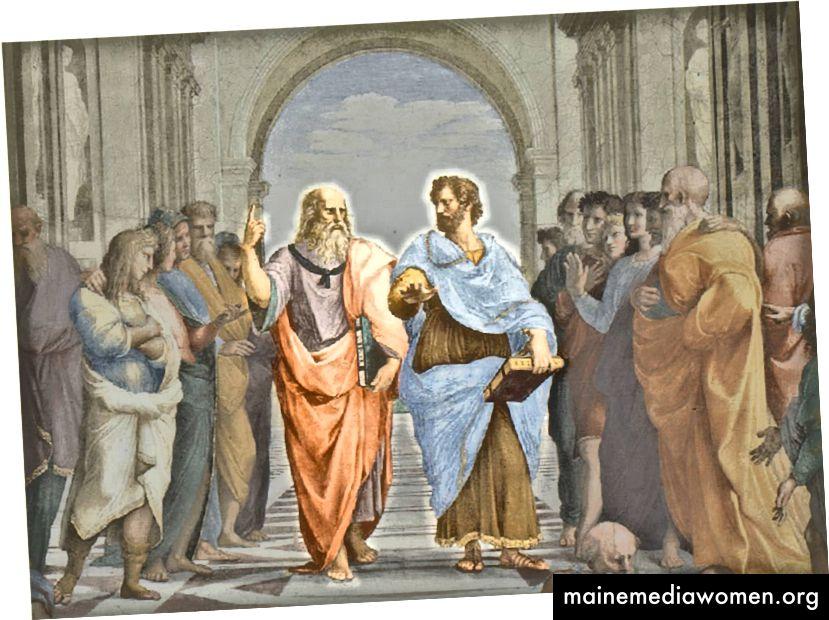 أفلاطون (يسار) وأرسطو (يمين)