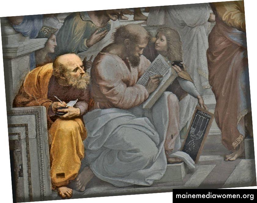 ليس كيف يبدو هذا في اللوحة. لم ينسخ Boethius فيثاغورس. في الواقع ، عاش Boethius عدة قرون بعد فيثاغورس.