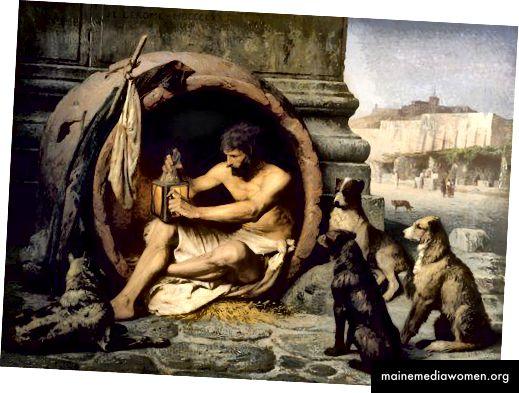 كان ديوجين مولعا بالكلاب. كان دائما يحيط بهم قليل منهم. يرتبط ذلك أيضًا بسلوكه الذي يطلق عليه السخرية (أصل الكلمة: cyno = dog). رتب أرسطو مرة واحدة مأدبة عشاء ودعا Diogenes ، حيث دعا شخص ما له كلب. لذلك رفع ساقه وتبول على الشخص.