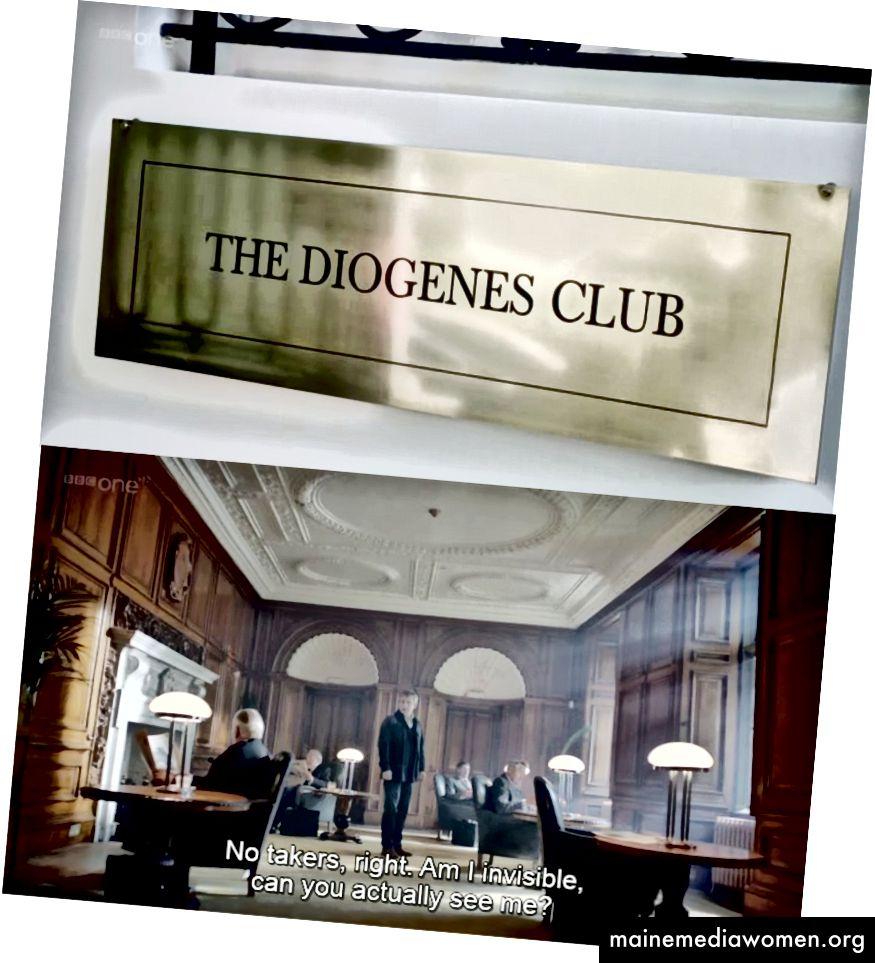 في بي بي سي شيرلوك S02E03: سقوط الرايخنباخ ، يزور جون واتسون نادي Diogenes لرؤية Mycroft Holmes ، لكنه يخرج من القاعة للتحدث مرارًا وتكرارًا. عندما يسأل واتسون Mycroft لماذا لا يتحدث أحد في النادي ، يجيب Mycroft - إنه تقليد.
