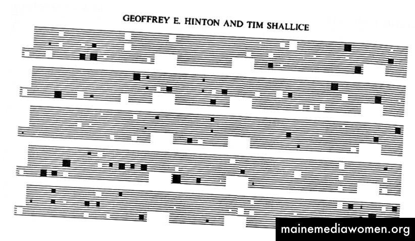 مقتطفات من ورقة 1991 من قبل هينتون وآخرون. [وصف الصورة: خمسة صفوف منفصلة من الخطوط الأفقية بالأبيض والأسود الكثيفة مع مستطيلات بالأبيض والأسود تغطي أجزاء من الخطوط الأفقية.]