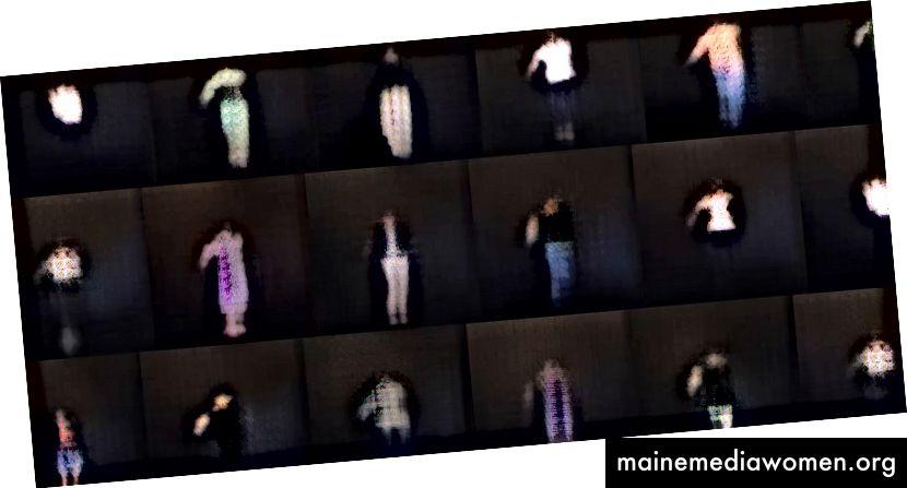 صور تم إنشاؤها بناءً على فيديو للجمهور باستخدام pix2pixHD. [وصف الصورة: شبكة من الصور ذات الأشكال الباهتة التي تشبه الإنسان على خلفية سوداء مع بعض الأرجل الواضحة والسترات والأذرع والرؤوس والكثير من ضوضاء الأنماط الثابتة المشبعة في مناطق السطوع المتوسط.]