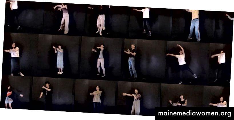 أفضل الصور مطابقة من فيديو للجمهور. [وصف الصورة: شبكة من صور لأعضاء الجمهور يرقصون على خلفية سوداء ، وكل أذرعهم ممدودة إلى اليسار.]