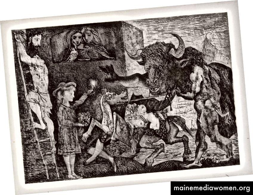 La Minotauromachie von 1935 enthält fast die gleichen Bilder wie Guernica (Quelle: Wikipedia)