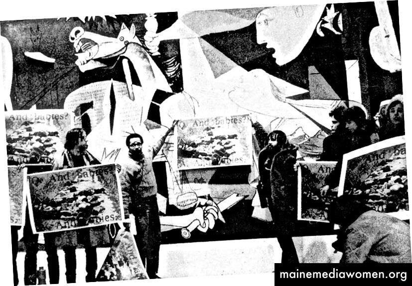 Mitglieder der Art Workers Coalition protestieren vor Guernica und halten Bilder von Frauen und Kindern hoch, die von amerikanischen Truppen in Vietnam massakriert wurden (Quelle: Wikipedia)