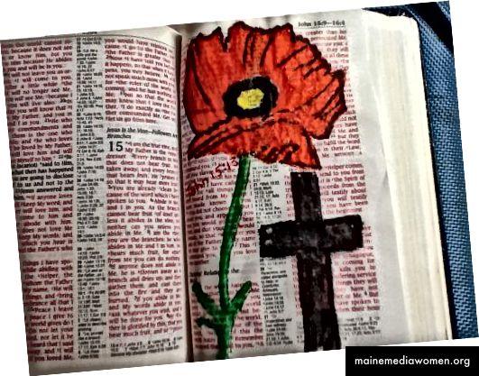 Früher habe ich eine alte Bibel aus einem Gebrauchtwarenladen verwendet, bevor ich ein Bibeljournal gekauft habe.