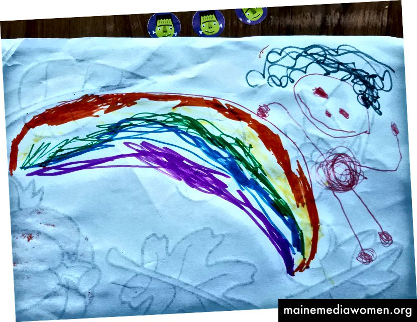 Verträumter Marker, der meine 4-jährige Zeichnung von mir, ihrer Mama, zeigt.