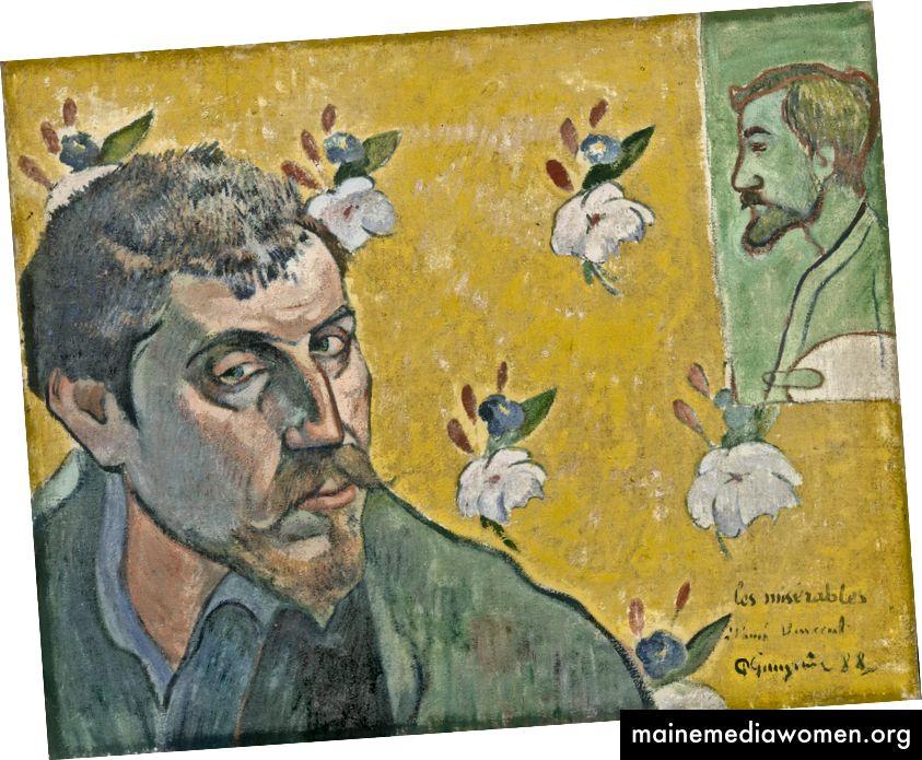 """Gauguinův """"Autoportrait avec portrait de Bernard,"""" Les Misérables """""""", 1888. Věnováno Van Goghovi"""