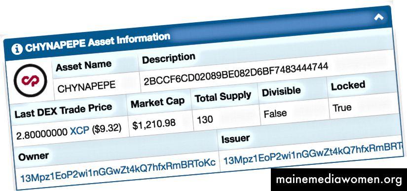 Kontrolní součet MD5 hash v poli popisu aktiva na průzkumníku bloků xchian.io