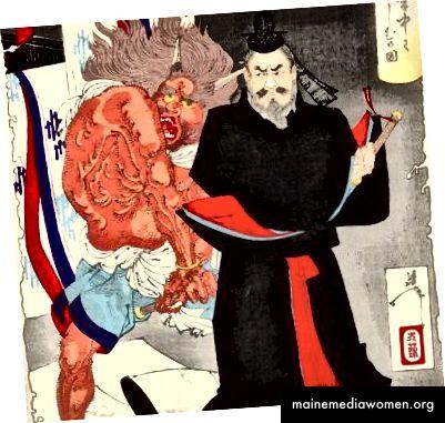 """Детайл от отпечатък от поредицата """"Нови форми на 36 призраци"""" на Йошитоши, включващ демон, който атакува благородник, който изглежда просто раздразнен, докато посяга към меча си."""