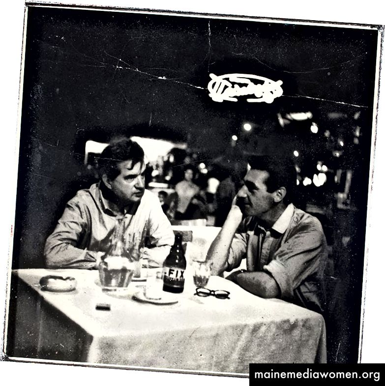 Francis Bacon (L) und George Dyer (R) in einem Restaurant in SoHo