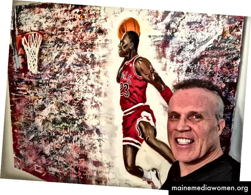 "Umělec Timothy Paulson s obrazem ""In Flight"" (48"