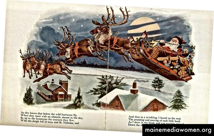 """Илюстрация от """"Twas the Night преди Коледа"""", около началото на 1900 г. на Clement Clarke Moore"""