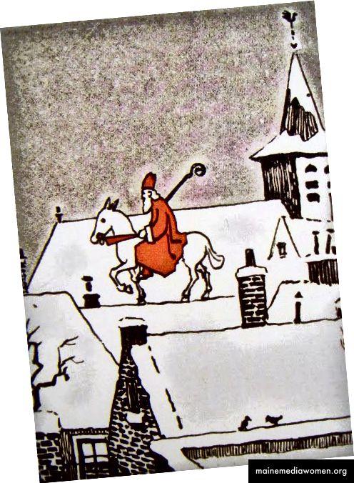 (يسار) لوحة للفنان جيمس سي. كريستنسن • (يمين) رسم توضيحي لكتاب الأطفال الهولنديين ، حوالي عام 1930