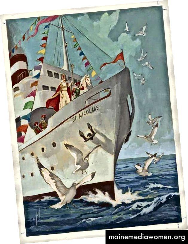 Винтидж холандски детски книжни илюстрации, около 50-те години