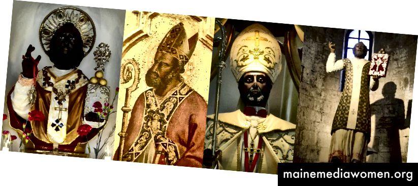 Бюст в малък параклис в пристанищното управление на Бари (Пулия), Италия • Картина на Лоренцо ди Бичи, базиликата на Сан Джакомо Маджоре в Болоня (Емилия Романя), Италия • Статуя в базиликата и светилището на Сан Николас от Бари, Тинкунако (Ла Риоха), Аржентина • Статуя в Православната църква на Волтурара Ирпина (Авелино), Италия