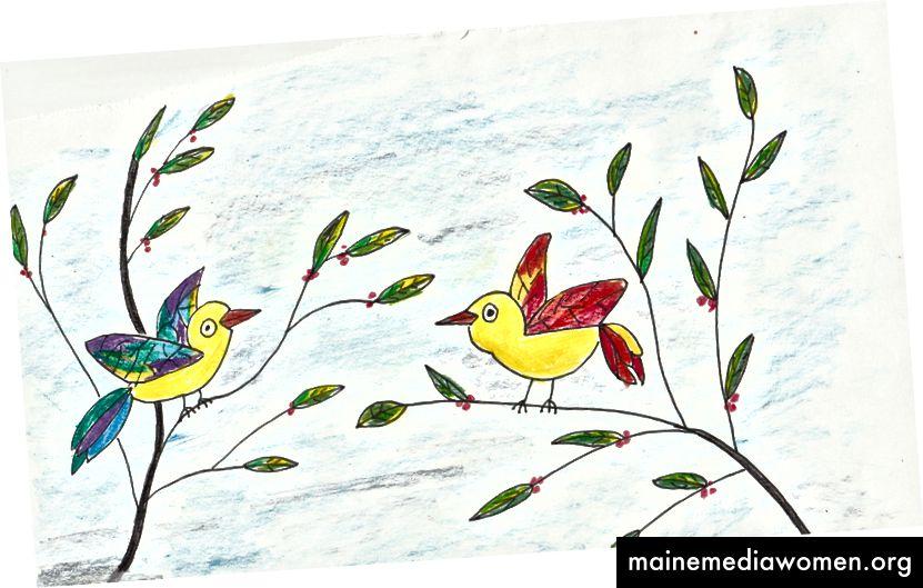 Vögel auf den Zweigen - gelb tragend - von Janis Cox