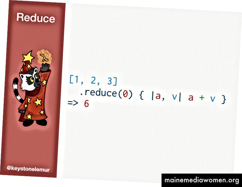 [1,2,3] .reduce (0) {| a, v | a + v} # => 6