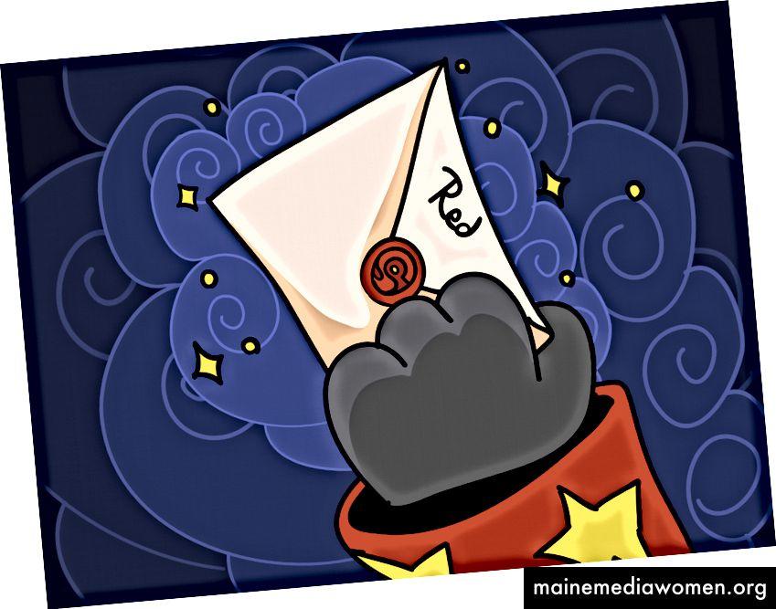 Rot erhält versiegelten Umschlag von seinem Meister.