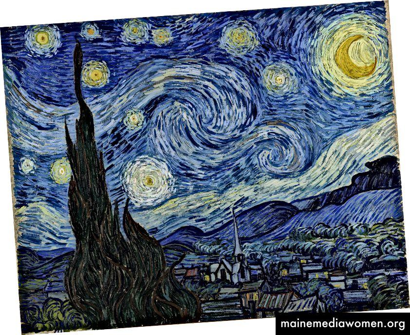 Hvězdná noc od Vincenta Van Gogha. Obrázek: https://en.wikipedia.org/wiki/The_Starry_Night