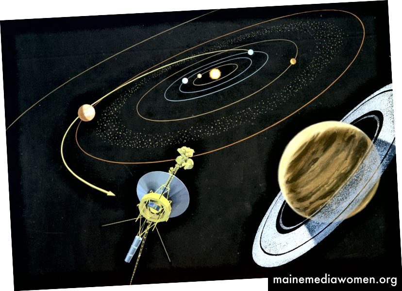 Umělecké vykreslení kosmické lodi Voyager se blíží k Saturnovi pomocí gravitační asistence od Jupitera. Kredit: NASA JPL
