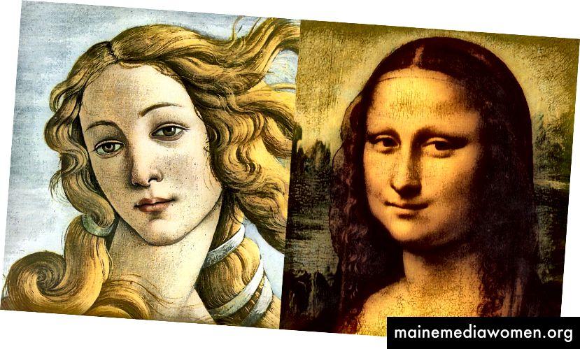 Levá strana: Narození Venuše (1485) od Botticelliho; pravá strana: Mona Lisa (1503) od Leonarda da Vinciho.