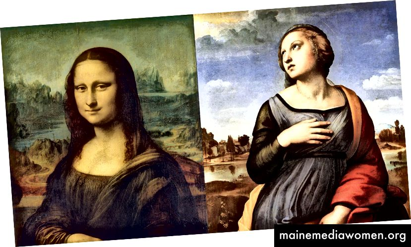Levá strana: Mona Lisa (1503) od Leonarda da Vinci; pravá strana: svatá Kateřina z Alexandrie (1508) od Raphaela.