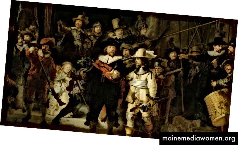 Noční hlídka (1642) od Rembrandta.