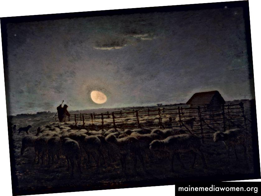 The Sheepfold at Moonlight، 1856–60. وكان الدخن سيد ضوء اللوحة وغالبا ما يصور مشاهد الفجر أو الغسق في وقت مبكر.