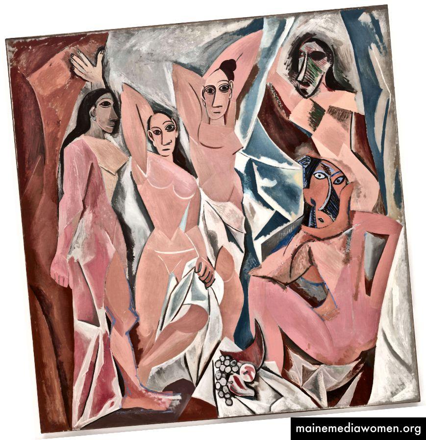 بابلو بيكاسو ، Les Demoiselles d'Avignon ، 1907. (ويكيبيديا)