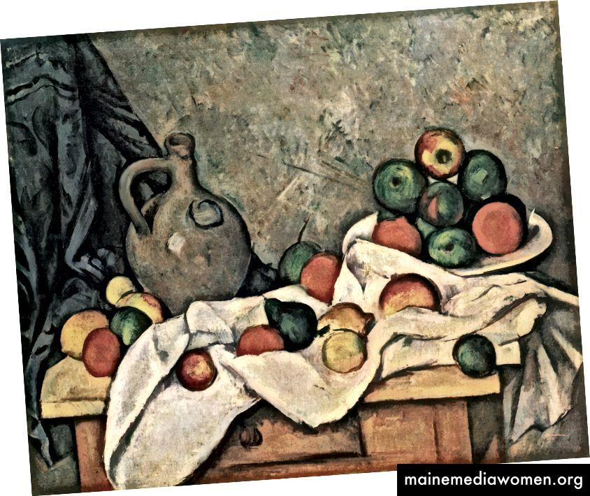 بول سيزان ، ستيل لايف ، دريبر ، إبريق ، وفاكهة السلطانية 1893-1894. (ويكيبيديا)