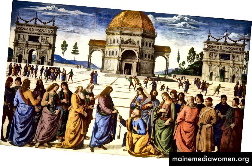 اخترع منظور نقطة واحدة خلال عصر النهضة. تسمح تقنية الطلب للفنانين ببناء وهم في الفضاء في لوحاتهم لتقديم واقع افتراضي. بيترو بيروجينو ، تسليم المفاتيح ، 1481–2. (المصدر: ويكيبيديا)