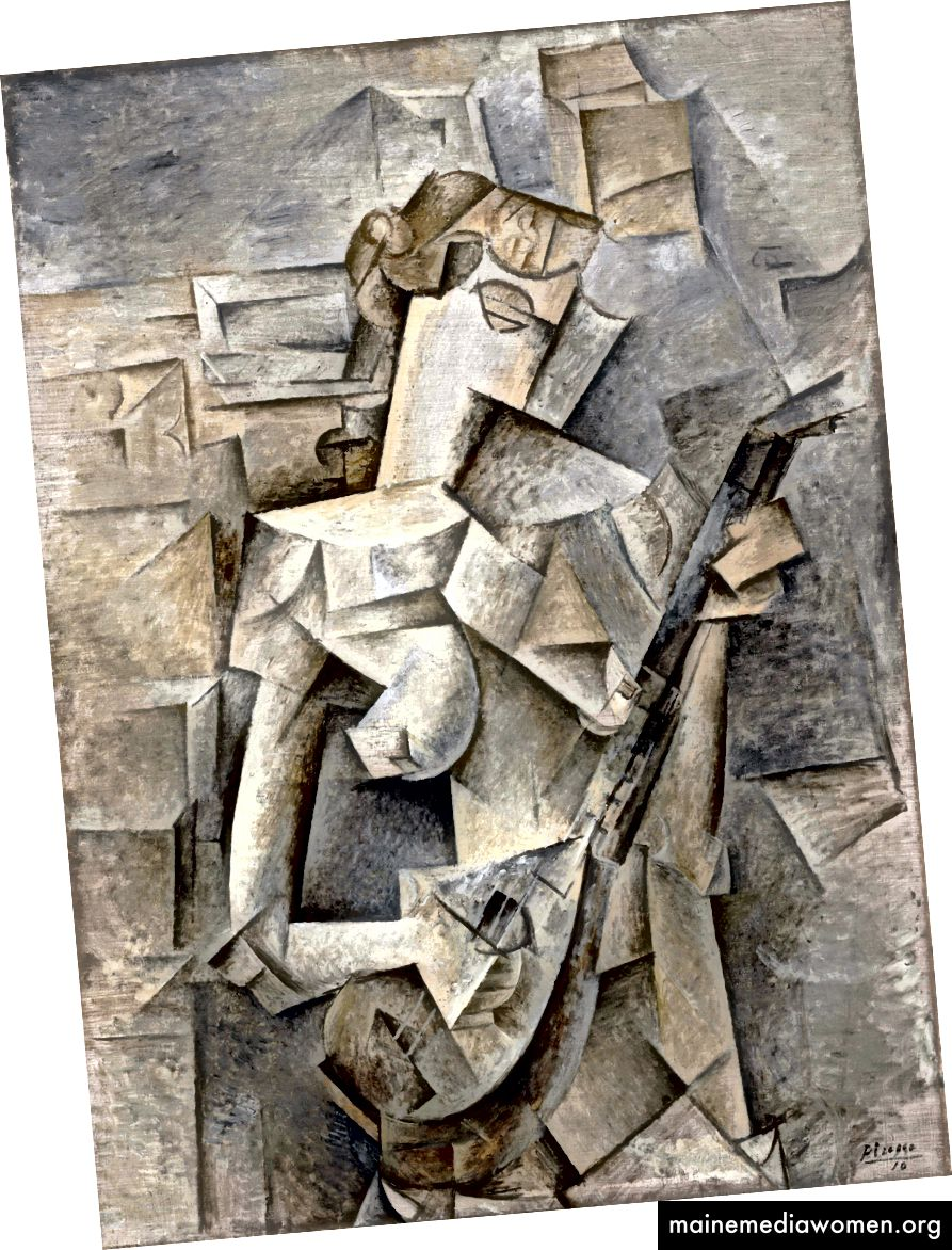 Пабло Пикасо, Момиче с мандолин (Фани Телиер), 1910 г. (Източник: Уикипедия)