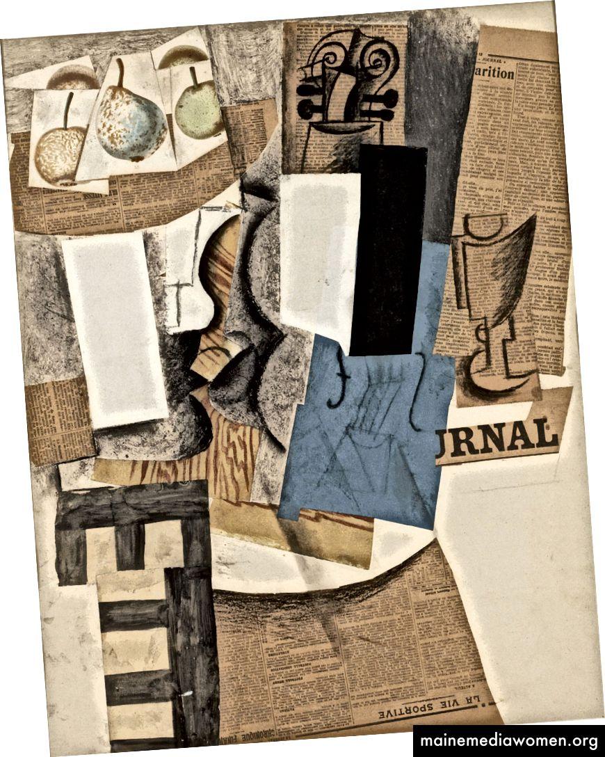 بابلو بيكاسو ، التأليف مع الكمان ، الفواكه والزجاج ، 1912. (المصدر: ويكيبيديا). كان من بين الابتكارات التقنية العظيمة في التكعيبية ملصقة: تحتوي هذه الصورة على جريدة ، مقطوعة برسوم توضيحية للفواكه ، بالإضافة إلى رسم الفحم. انظر كيف يتم تقسيم الكمان إلى أسطح مختلفة.