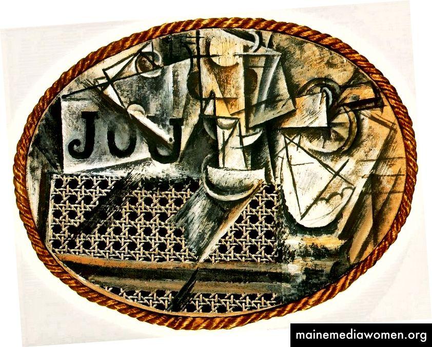 بابلو بيكاسو ، لا تزال الحياة مع كرسي الضرب بالعصا ، 1912