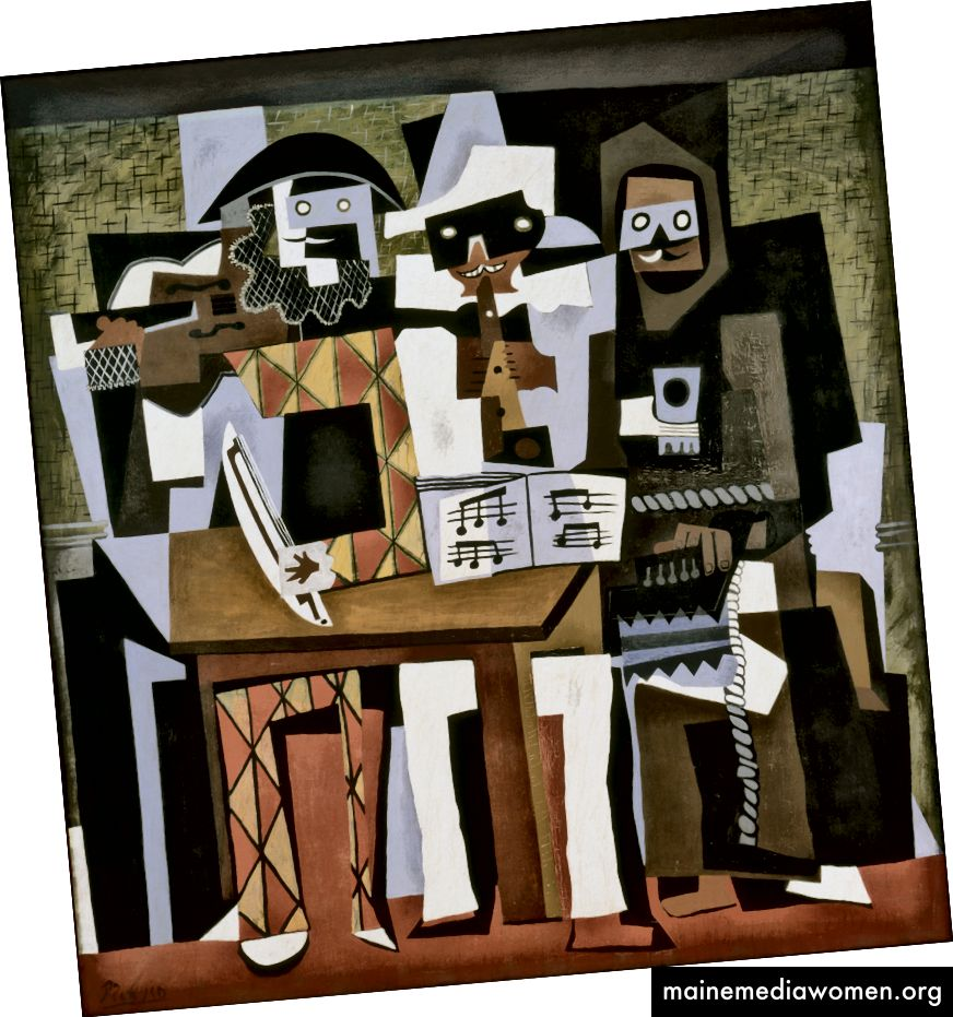 بابلو بيكاسو ، ثلاثة موسيقيين ، 1921. على الرغم من وجود لوحة ، تحاكي هذه الصورة تسطيح الكولاج. كان التكعيبية تأثير هائل على تطور الفن التجريدي. (المصدر: ويكيبيديا)